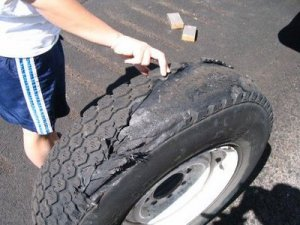 Our second shredded tire :(