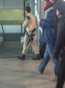 Over-coming Israeli paranoia at the train station,..